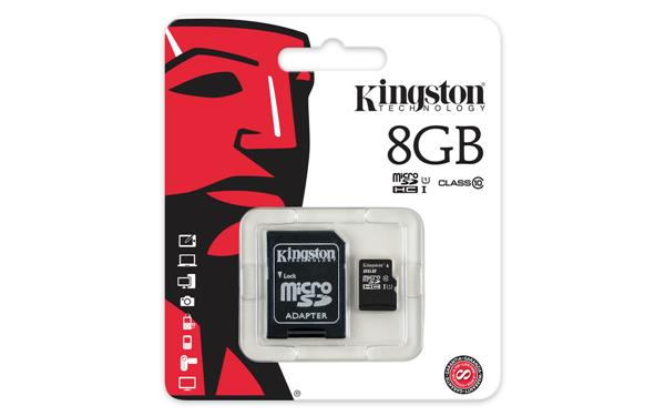 Карта памяти Kingston microSDHC 8GB Class 10 + SD адаптер