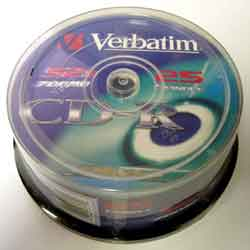 Диск CD-R Verbatim, 700Mb, 52х, 80min, Cake(25), Extra