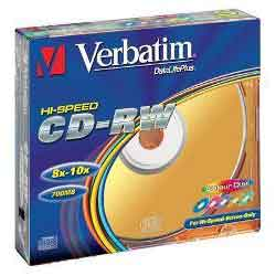 Диск CD-RW Verbatim, 700Mb, 8-12х, HighSpeed Col, Slim